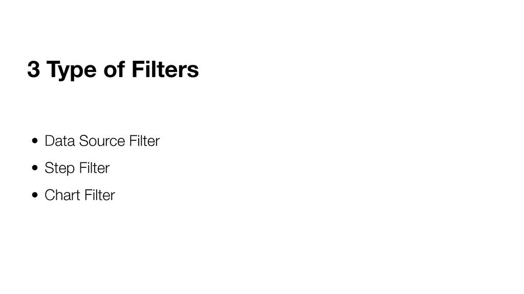• Data Source Filter • Step Filter • Chart Filt...