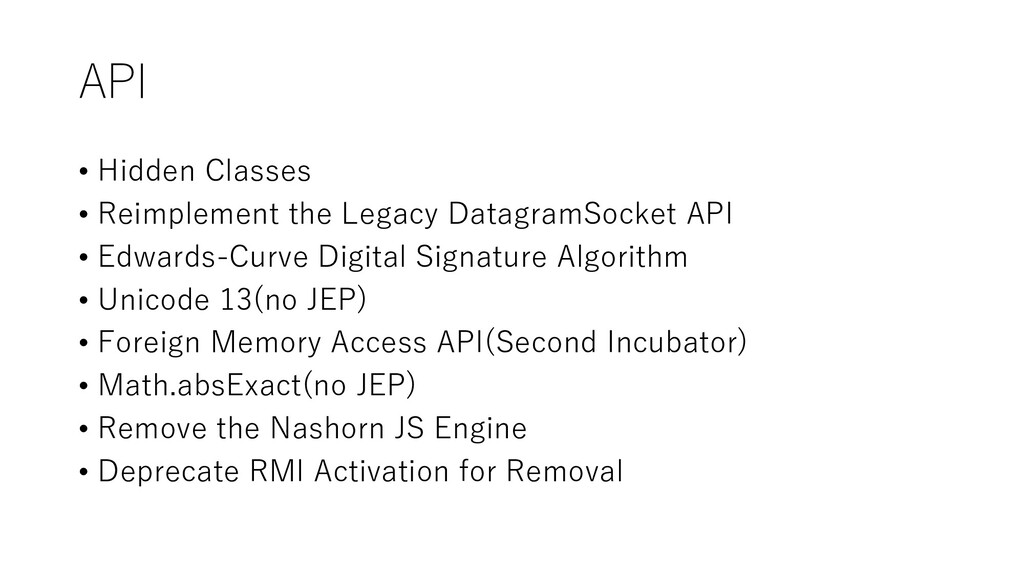 API • Hidden Classes • Reimplement the Legacy D...
