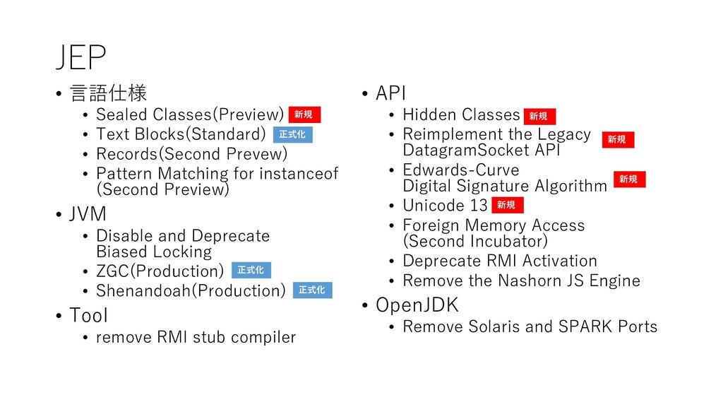 JEP • 言語仕様 • Sealed Classes(Preview) • Text Blo...