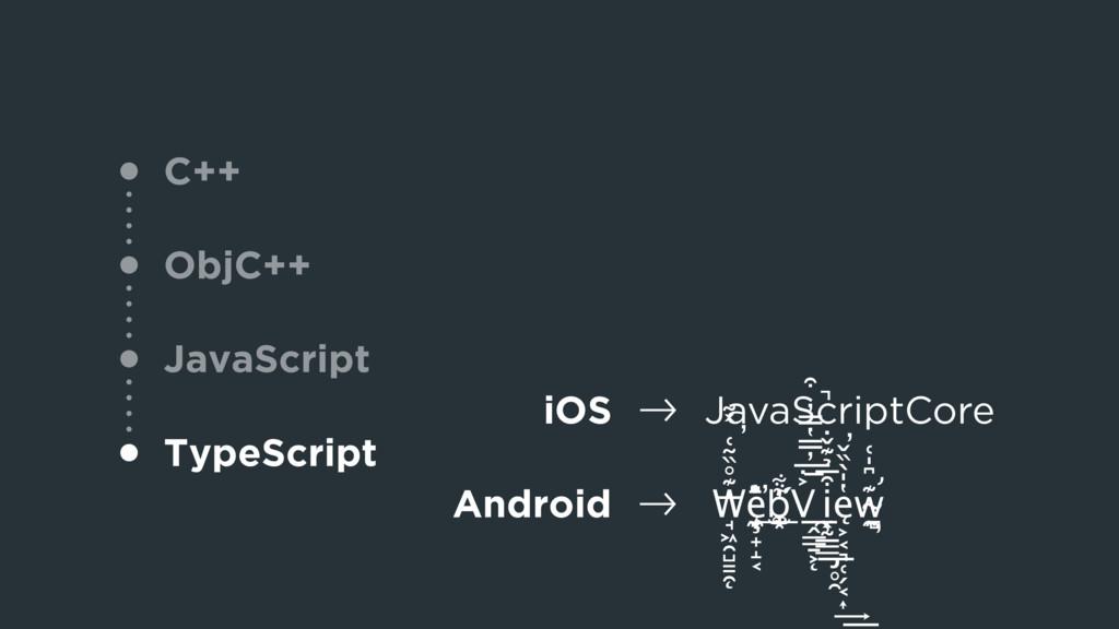 "C++ ObjC++ JavaScript TypeScript iOS !"" JavaScr..."