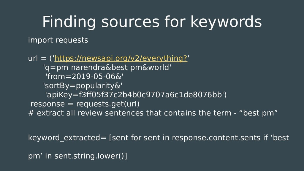 Finding sources for keywords import requests ur...