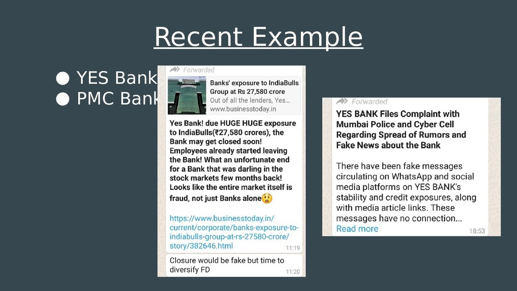 Recent Example ● YES Bank ● PMC Bank