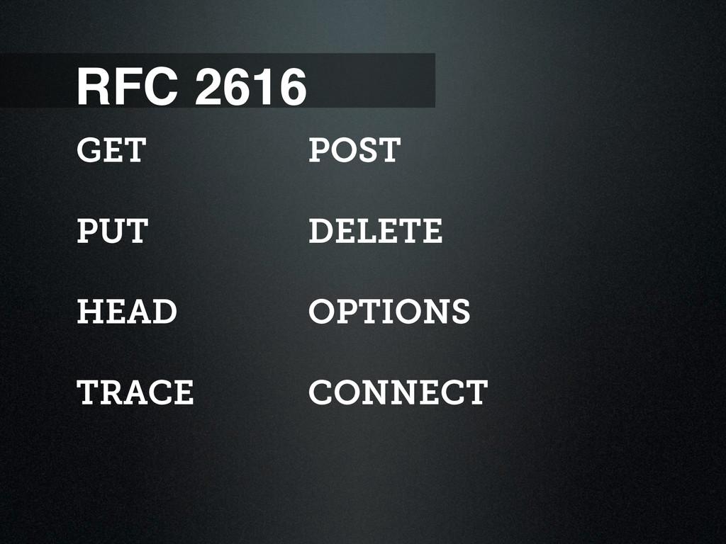 RFC 2616 GET PUT HEAD TRACE POST DELETE OPTIONS...