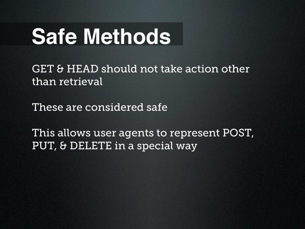 Safe Methods GET & HEAD should not take action ...