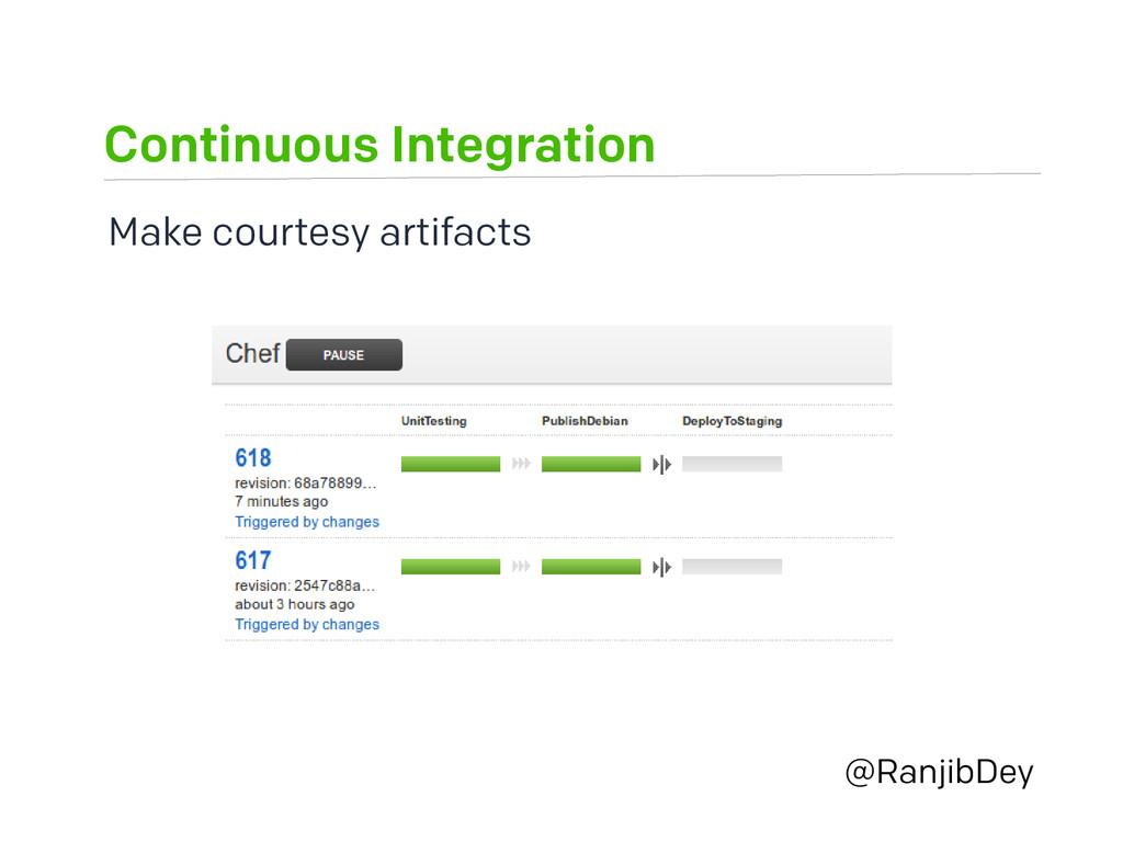 Continuous Integration @RanjibDey Make courtesy...