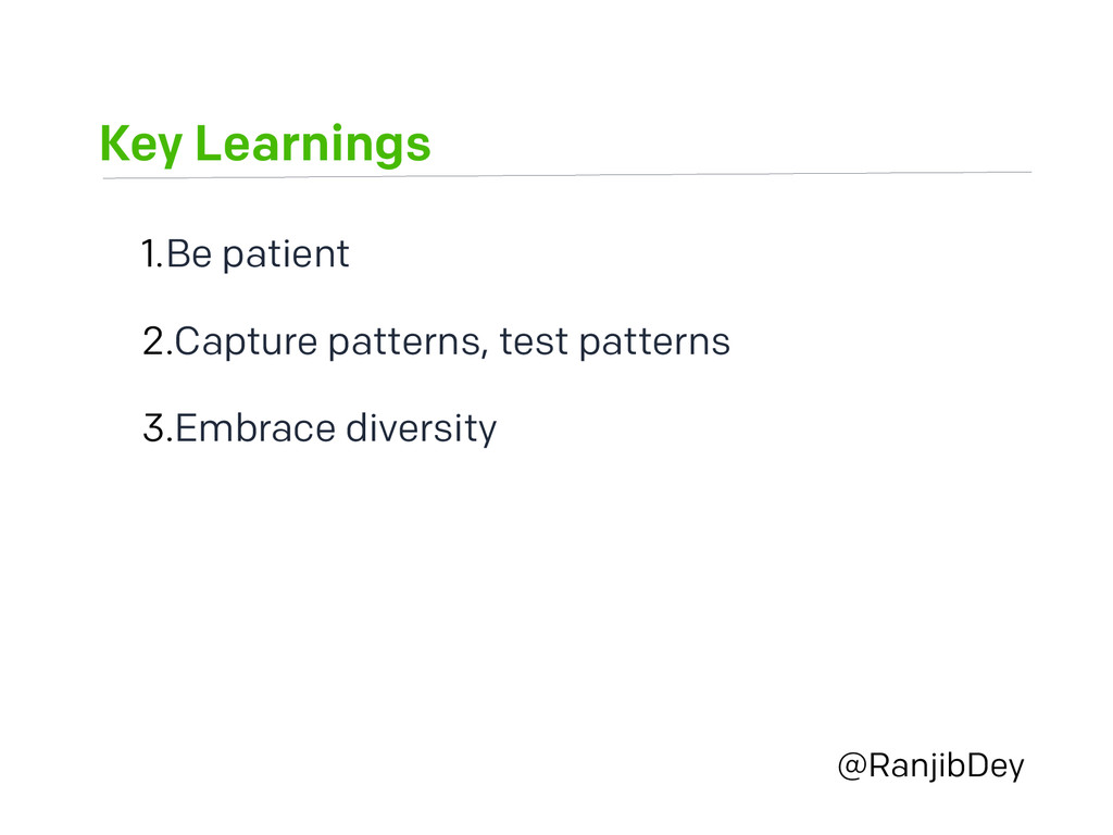 Key Learnings @RanjibDey 1.Be patient 2.Capture...