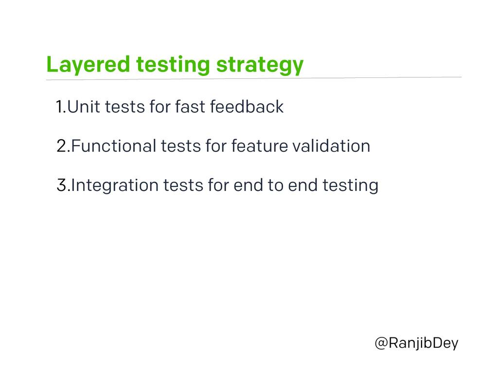 Layered testing strategy @RanjibDey 1.Unit test...