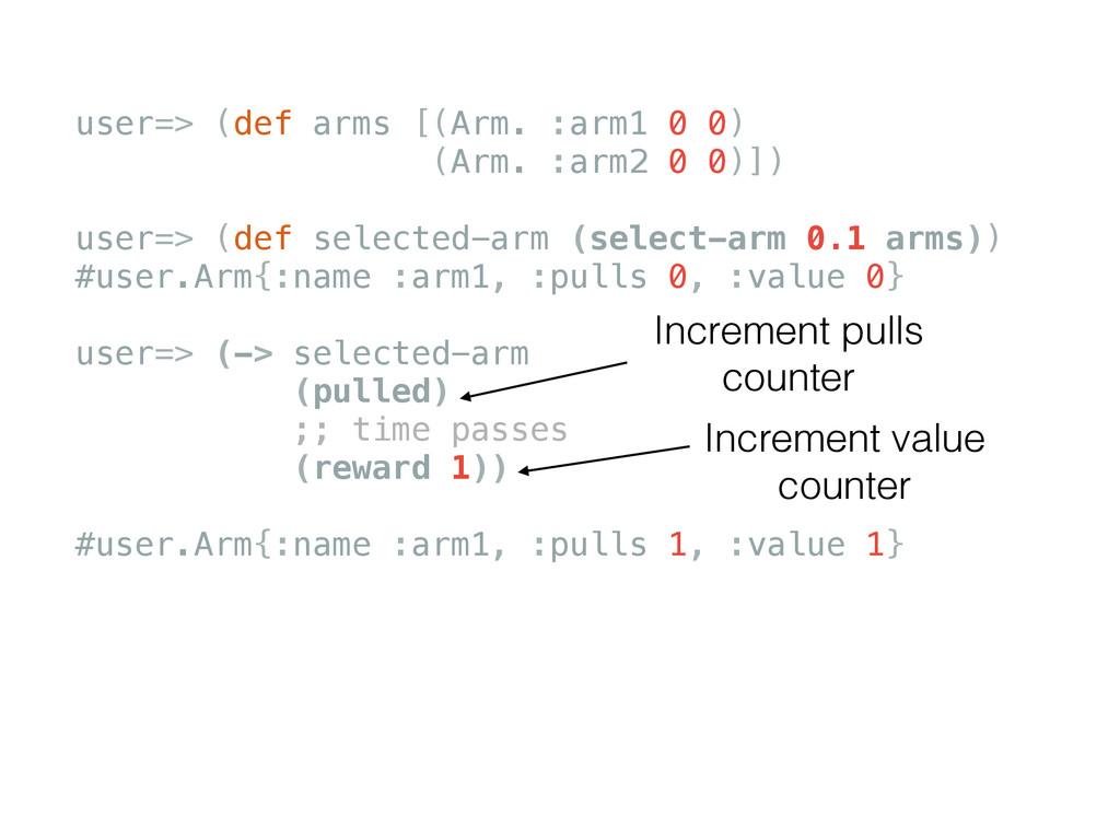 user=> (def arms [(Arm. :arm1 0 0) (Arm. :arm2 ...