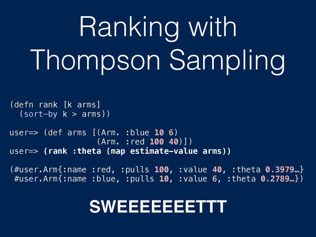 Ranking with Thompson Sampling (defn rank [k ar...