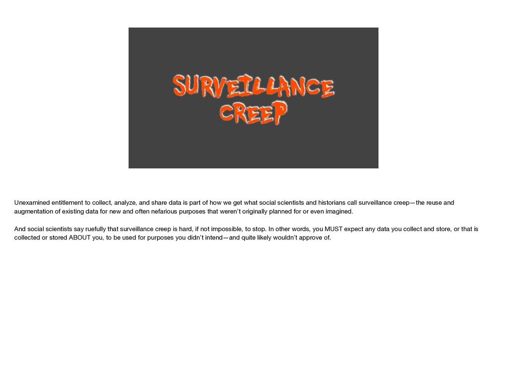 SURVEILLANCE CREEP Unexamined entitlement to co...