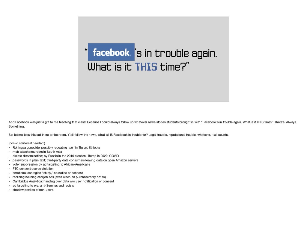 """""""FACEBOOK's in trouble again. What is it THIS t..."""