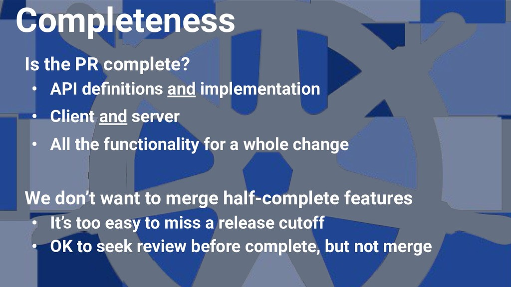 Is the PR complete? • API definitions and implem...