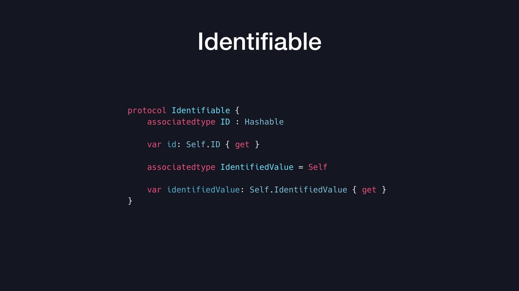 protocol Identifiable { associatedtype ID : Has...