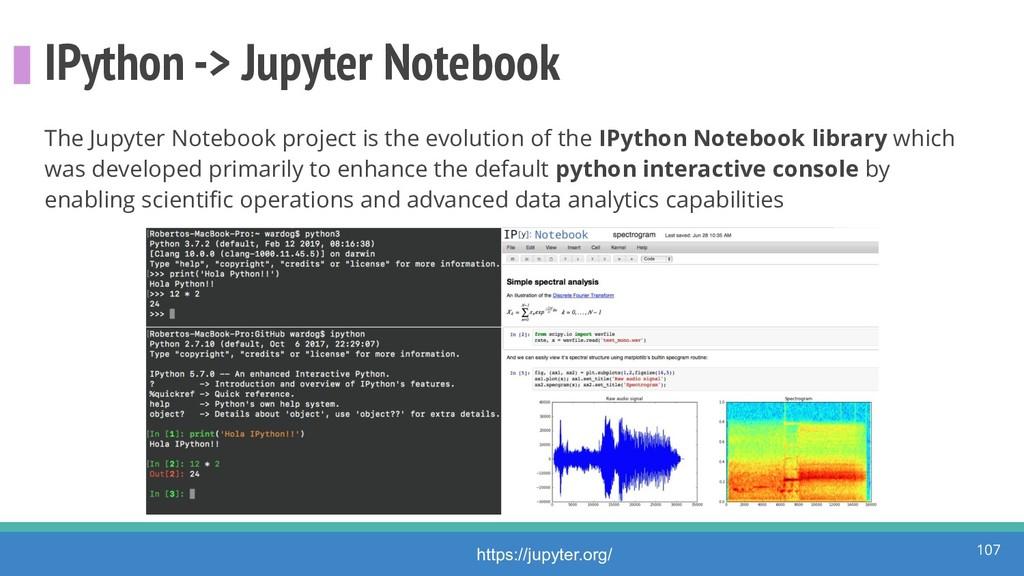 IPython -> Jupyter Notebook The Jupyter Noteboo...
