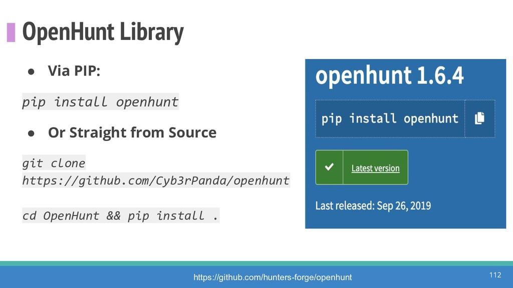 OpenHunt Library ● Via PIP: pip install openhun...
