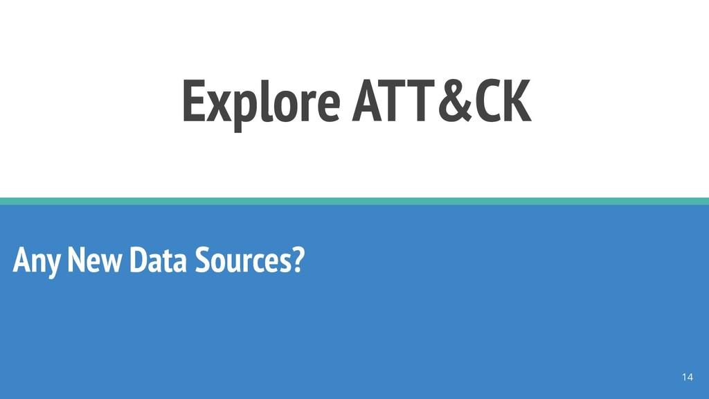 Explore ATT&CK Any New Data Sources? 14