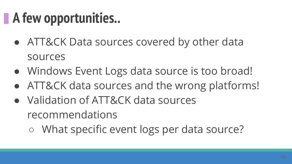 A few opportunities.. ● ATT&CK Data sources cov...