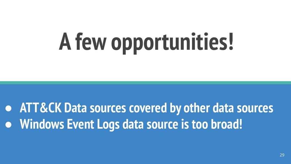 A few opportunities! ● ATT&CK Data sources cove...