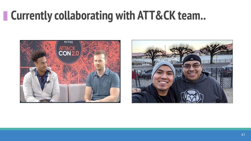 Currently collaborating with ATT&CK team.. 41