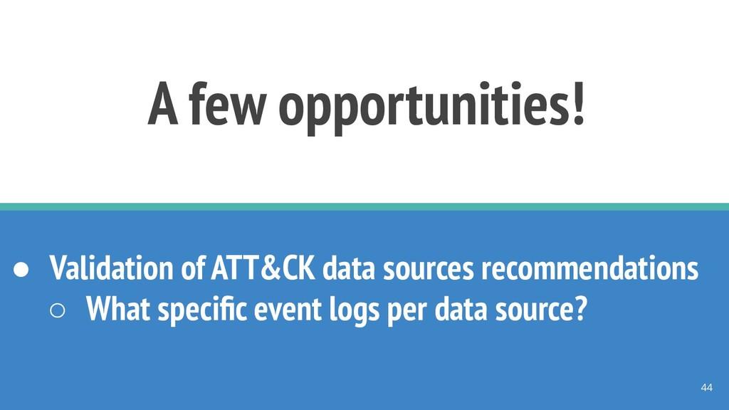 A few opportunities! ● Validation of ATT&CK dat...