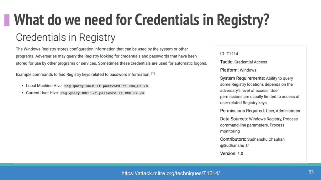What do we need for Credentials in Registry? 53...