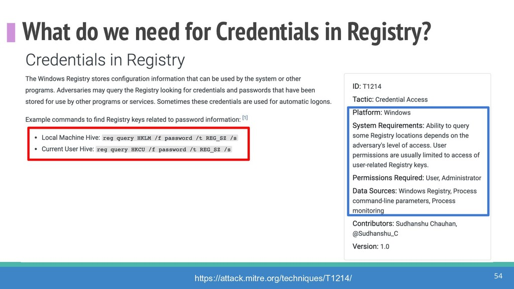 What do we need for Credentials in Registry? 54...