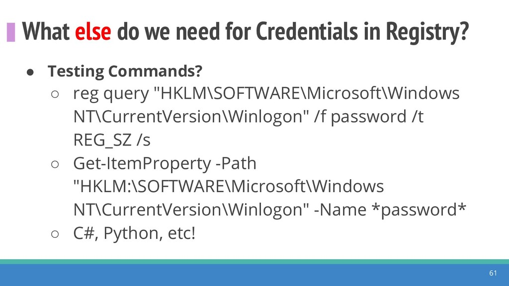 What else do we need for Credentials in Registr...