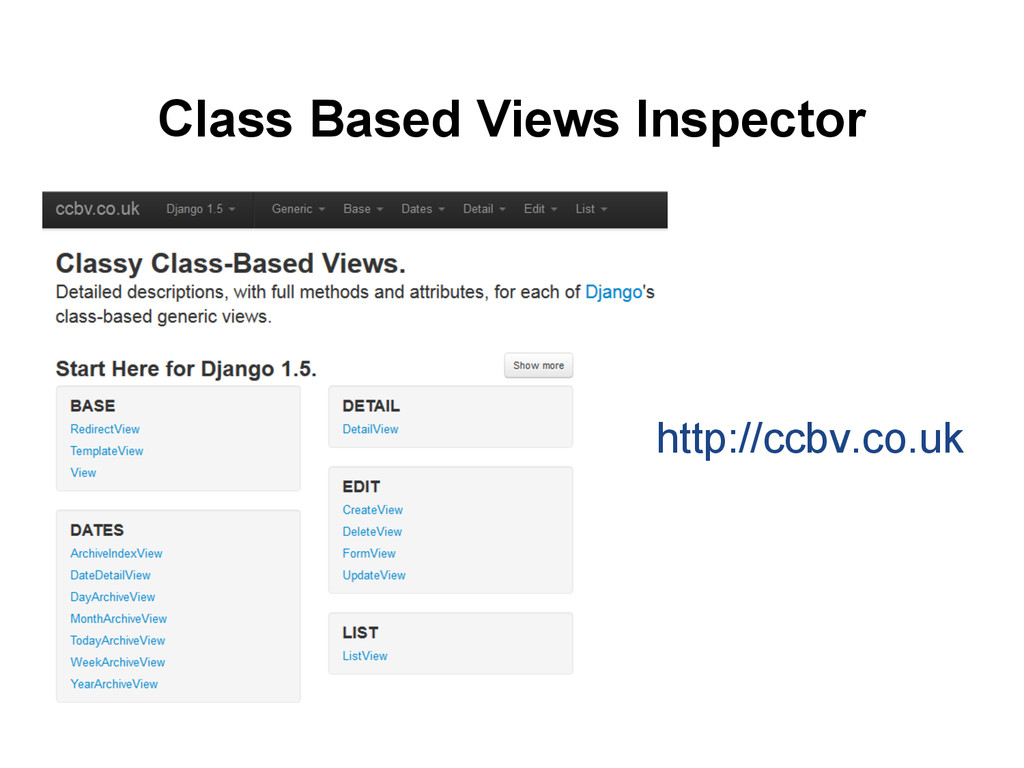 Class Based Views Inspector http://ccbv.co.uk