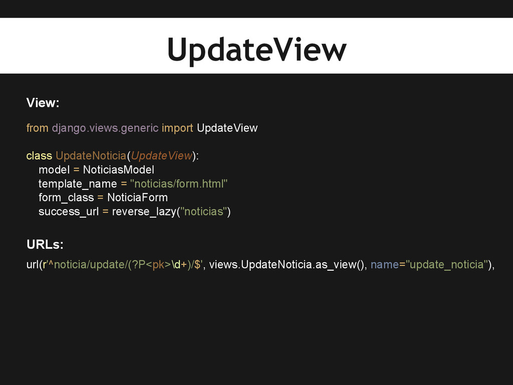 View: from django.views.generic import UpdateVi...