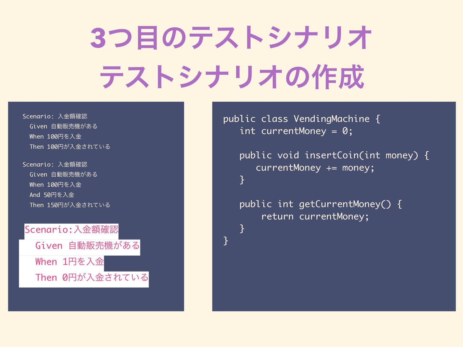 3ͭͷςετγφϦΦ ςετγφϦΦͷ࡞ Scenario: ೖֹۚ֬ Given ࣗಈ...