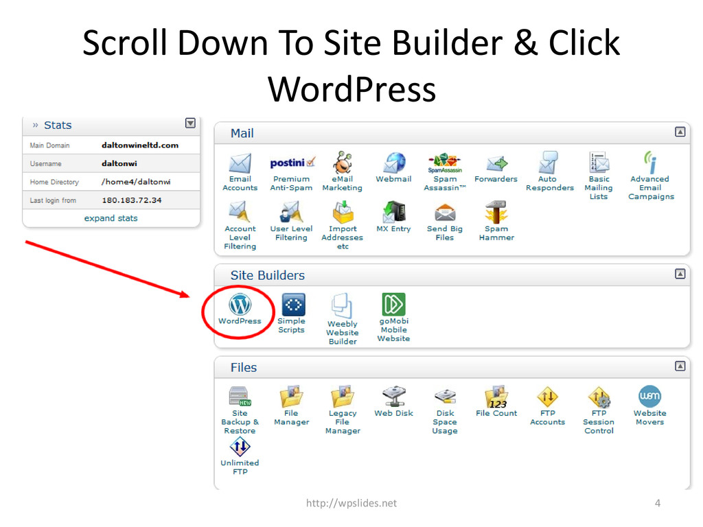 Scroll Down To Site Builder & Click WordPress 4...
