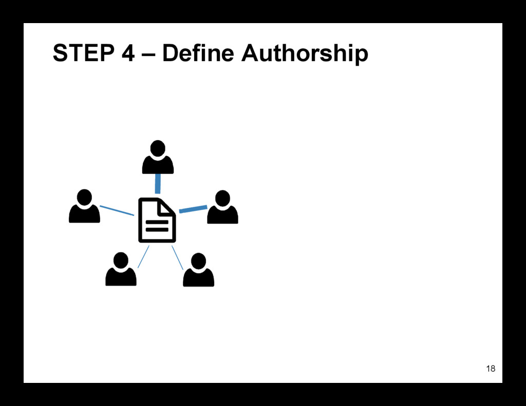 STEP 4 – Define Authorship 18