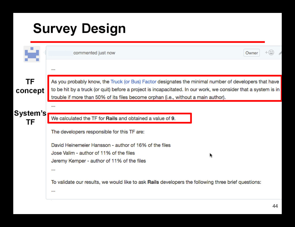 44 Survey Design TF concept System's TF