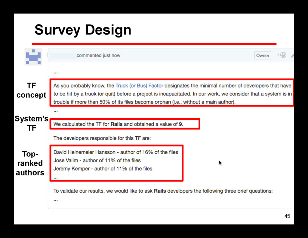 45 Survey Design TF concept System's TF Top- ra...