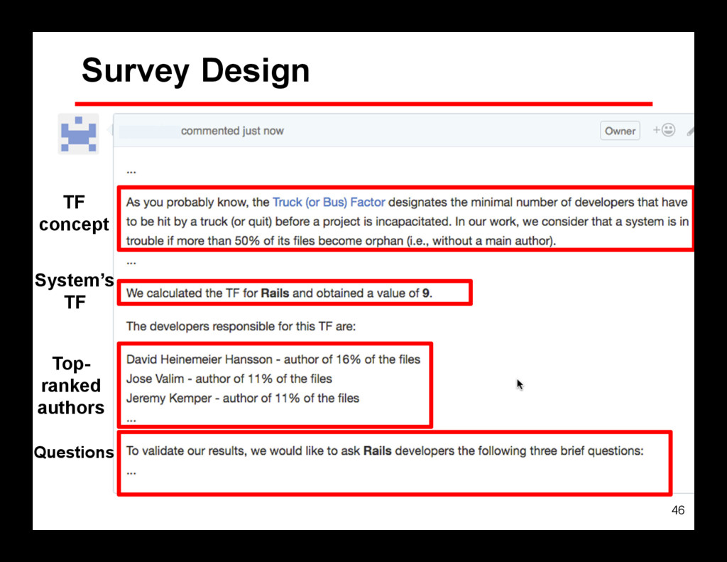 46 Survey Design TF concept System's TF Top- ra...