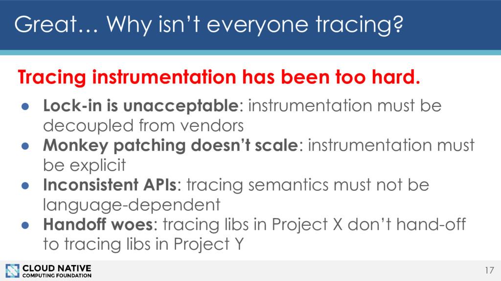 Tracing instrumentation has been too hard. ● Lo...