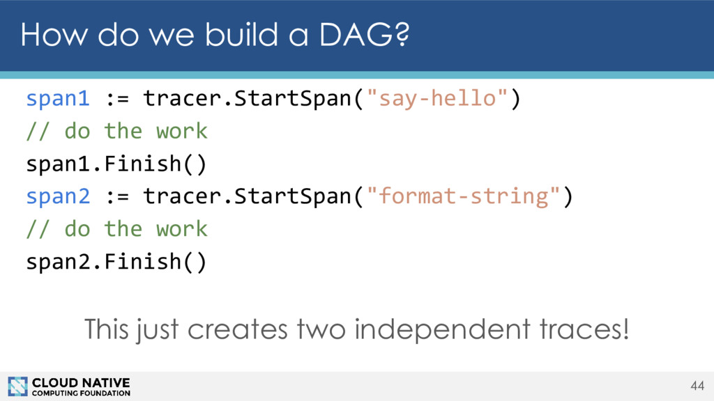 44 How do we build a DAG? span1 := tracer.Start...