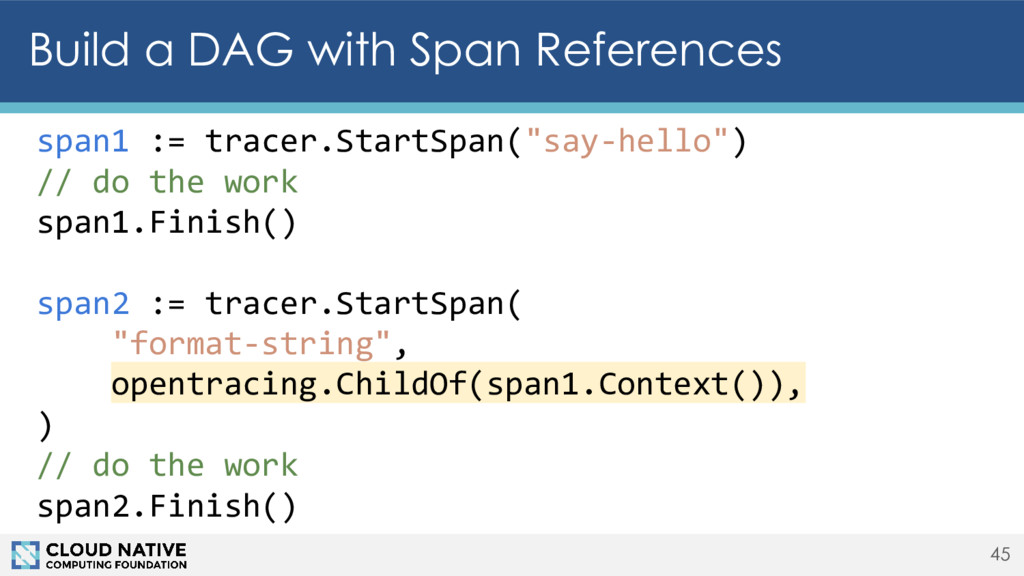45 Build a DAG with Span References span1 := tr...