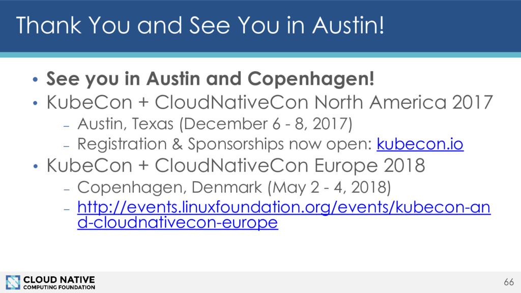 Thank You and See You in Austin! • See you in A...