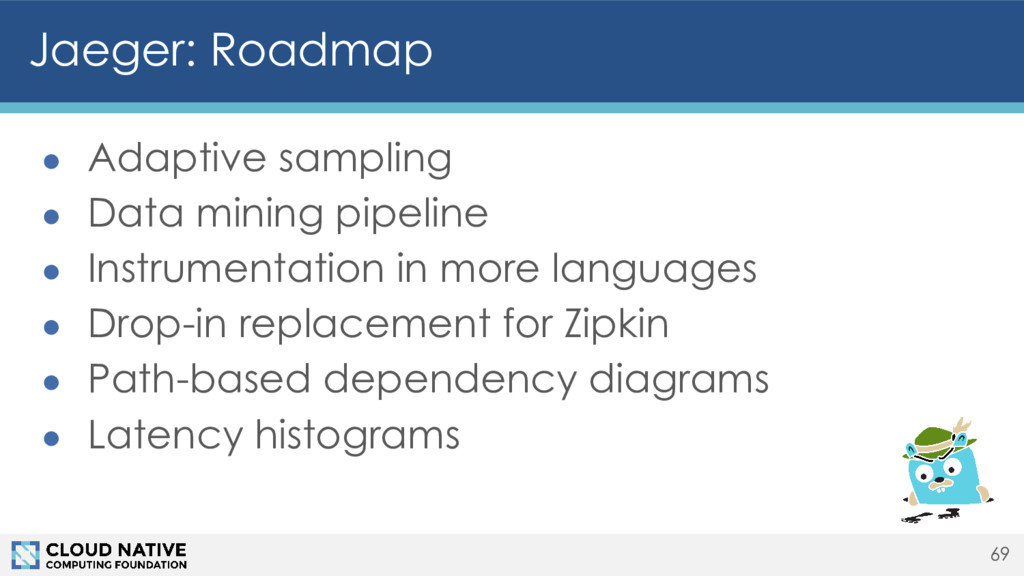 Jaeger: Roadmap ● Adaptive sampling ● Data mini...