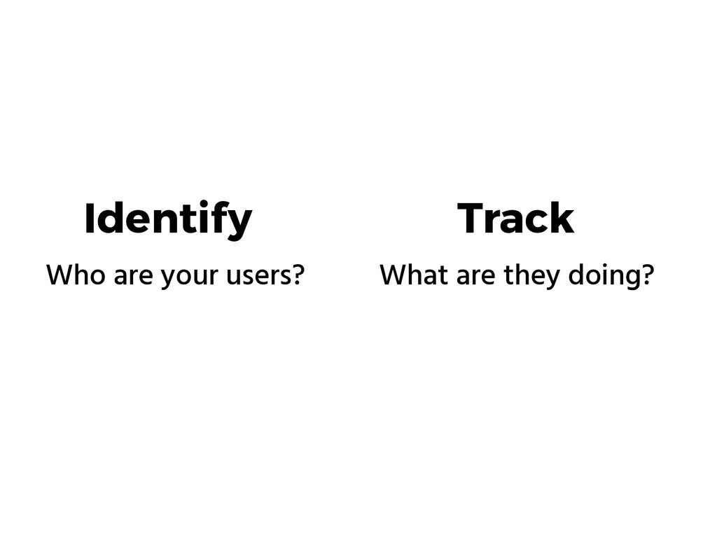 Identify Track Who are your users? What are the...