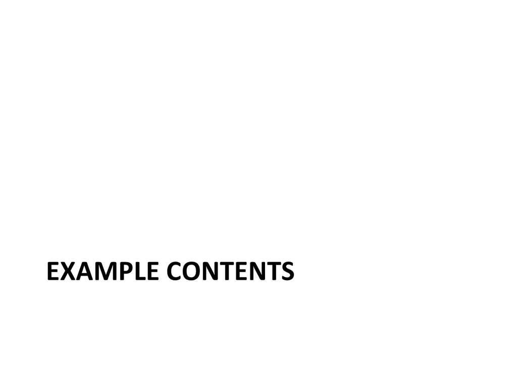 EXAMPLE CONTENTS