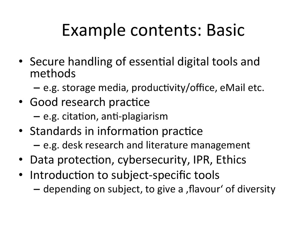 Example contents: Basic  • Secure ...