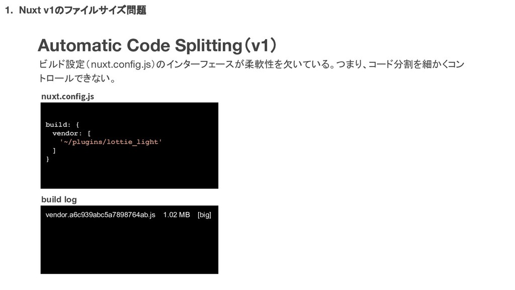 Automatic Code Splitting(v1) ビルド設定(nuxt.config....