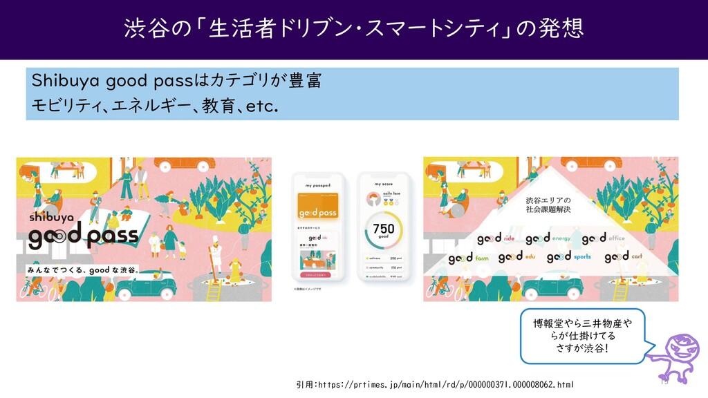 渋谷の「生活者ドリブン・スマートシティ」の発想 Shibuya good passはカテゴリが...