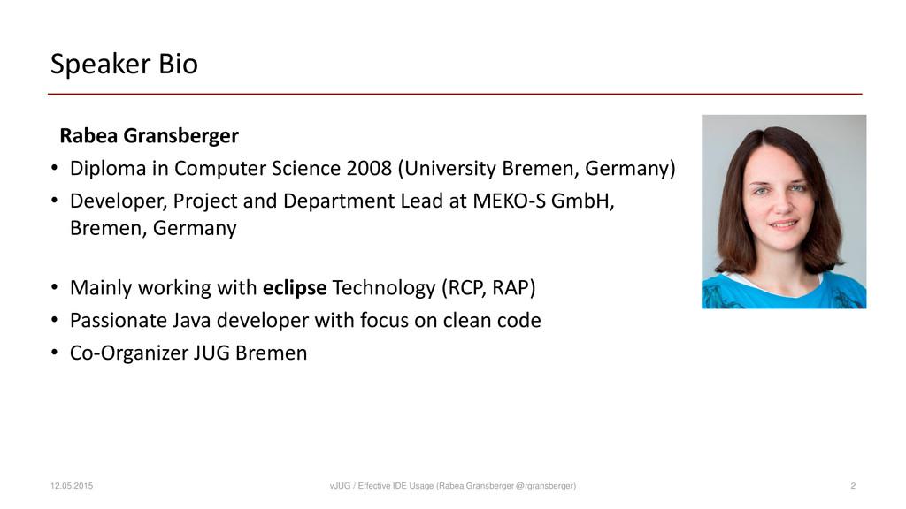 Speaker Bio Rabea Gransberger • Diploma in Comp...