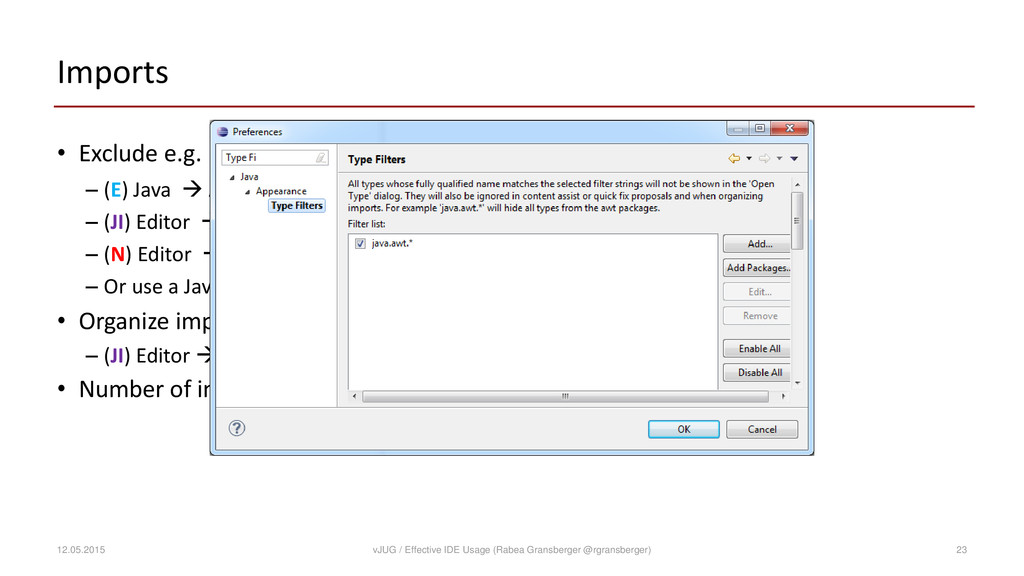 Imports • Exclude e.g. java.awt.* from import p...