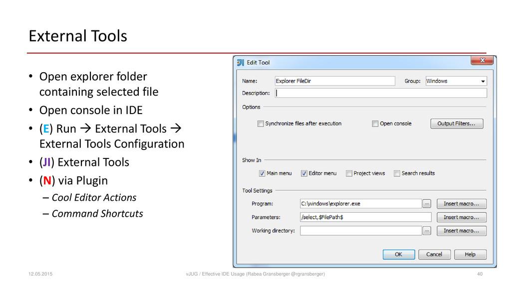 External Tools • Open explorer folder containin...