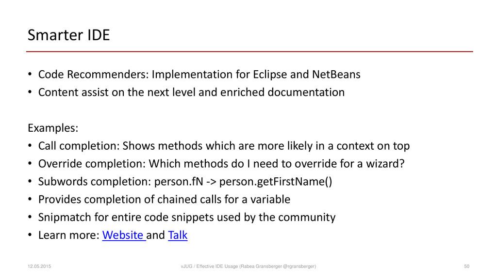 Smarter IDE • Code Recommenders: Implementation...