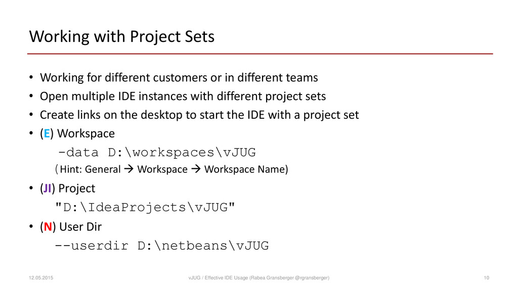 Working with Project Sets • Working for differe...
